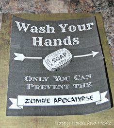 DIY sign, wash your hands sign, bathroom sign