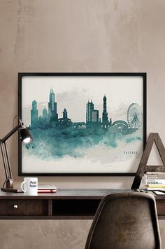 Chicago watercolor skyline print, Chicago Illinois cityscape poster, Wall art, Chicago watercolor painting, Home Decor, wall decor, art gift