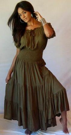 Amazon.com: GREEN DRESS PEASANT MAXI - FITS - S M L - U578 LOTUSTRADERS: Clothing