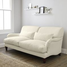 Petersham Sofa Cotton - Pearl, Silver or Grey   The White Company