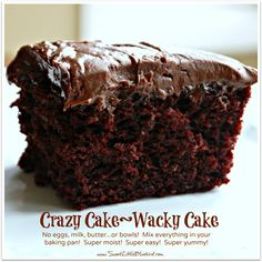 Chocolate Crazy Cake Crazy cake also known as Wacky Cake & Depression Cake - No Eggs, Milk, Butter, Bowls or Mixers! Super moist and delicious. Go-to recipe for egg/dairy allergies. Great activity to do with Vegan Treats, Vegan Desserts, Just Desserts, Delicious Desserts, Dessert Recipes, Egg Free Desserts, Eggless Desserts, Pudding Recipes, Crazy Cake Recipes