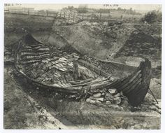 The Osberg ship, Viking relic, 8th century. From New York Public Library Digital Collections.