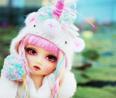 Unicorn bjd *o* Dolly World, Lps Littlest Pet Shop, Unicorn Doll, Kawaii Doll, Beautiful Barbie Dolls, Cat Pin, Cute Hats, Blythe Dolls, Dolls Dolls