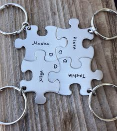 Puzzle Piece Name Keychain Customizable Personalized Hand Stamped Bridesmaid Graduation Best Friends by CMKreations Bali Wedding, Our Wedding, Dream Wedding, Gifts For Wedding Party, Party Gifts, Sister Tattoos, Sister Gifts, Friend Gifts, Trendy Tattoos