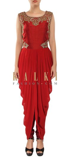 Buy Online from the link below. We ship worldwide (Free Shipping over US$100) http://www.kalkifashion.com/maroon-kurti-enhanced-in-zari-embroidery-along-with-cowl-drape-only-on-kalki.html