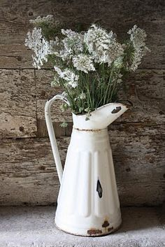 Perfect old white jug / pitcher, shabby wood backgroundand white flowers...yes!