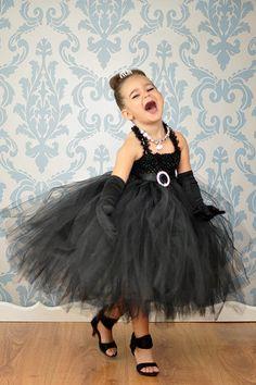 Audrey Hepburn  tutu dress Black flower girl by GlitterMeBaby, $75.00