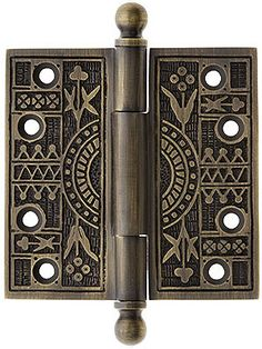 """Old Hinges. 3 1/2"""" Solid Brass Eastlake Ball Tip Hinge In Antique-By-Hand Finish"""