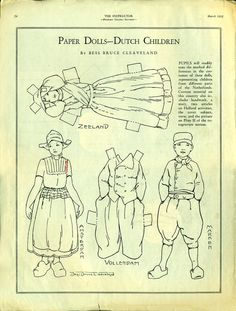 Antique 1932 Magazine Uncut Paper Doll DUTCH CHILDREN by Artist Bess Bruce Cleaveland
