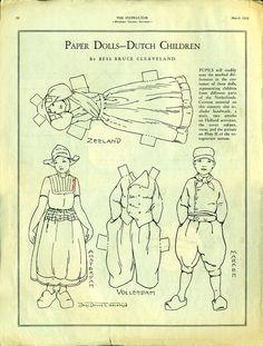 Antique 1932 Magazine Uncut Paper Doll DUTCH CHILDREN by Artist Bess Bruce Cleaveland