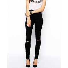 ASOS Ridley Skinny Jeans in Clean Black with Ripped Knees (710 CZK) ❤ liked on Polyvore featuring jeans, black, black ripped skinny jeans, high rise black skinny jeans, black distressed jeans, black skinny jeans and destroyed skinny jeans