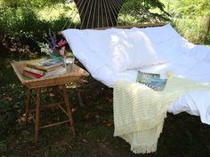 Backyard must have...for two...books and naps required