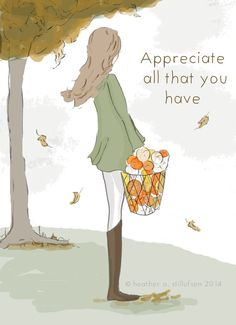 Appreciate All That You Have  Autumn  Art door RoseHillDesignStudio