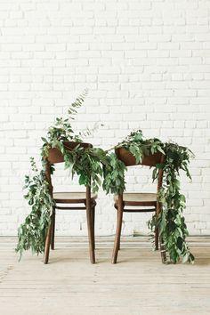 greenery chair swag - photo by Carolann Morgan Photography http://ruffledblog.com/bright-and-romantic-bridal-inspiration