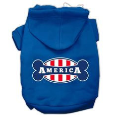 Bonely in America Screen Print Pet Hoodies Blue Size Sm (10)