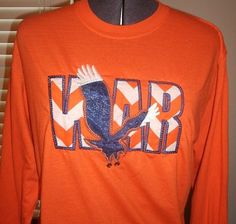 Chevron Applique War with Eagle Orange and white by annasbowtique, $40.00