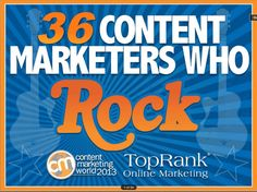 36 amazing people and quotes that make you think about how you could do content marketing. http://www.slideshare.net/toprank/content-marketing-that-rocks