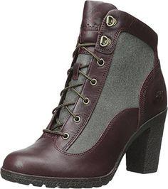 Timberland Women's Glancy Fabric/Leather Hiker Winter Boot, Burgundy Euroveg/Dark Green Recanvas, 7.5 M US - Brought to you by Avarsha.com