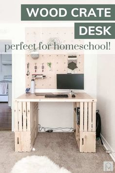 Looking for a homeschool desk? Read all about this wood crate desk that is perfect for any home schooler or WFH remote worker! #easyDIY #desk #woodproject #crate Crates, Small House Furniture, Wood Diy, Furniture Makeover, Space Saving Furniture, Wood Crates, Desk, Crate Desk, Diy Projects Using Wood