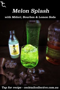 Melon Splash thinks to comines Bourbon with Midori, then adds Lemon Soda to brings it all together & a squeeze of Lime Juice for tartness. Midori Cocktails, Bourbon Cocktails, Cocktail Recipes, Instagram Sign, Old Fashioned Glass, Lime Juice, How To Know, Soda, Lemon