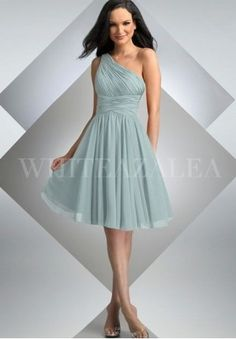One-Shoulder A-line Short Chiffon Bridesmaid Dress  2.Short Bridesmaid Dress with Sash at Natural Waist and Pleated Skirt $79 (PINK)