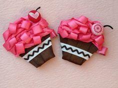 Cupcake Hair Bow. $8.00, via Etsy.