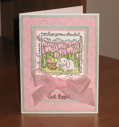 Art Impressions Rubber Stamps: Ai Windows to the World: Easter: M3311 – Bunny in Tulips