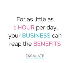 By investing a minimum of 6 hours per week in social media, marketers saw improvements in search engine rankings and lead generation benefits with their social media platforms. 📈✅  That is less than 1 hour per day and it is an important contributor to your company's success 🤭  Let us at Escalate help you with this valuable investment 📲💻 Online Marketing Agency, Digital Marketing, Reap The Benefits, Lead Generation, Search Engine, Platforms, Investing, Success, Social Media