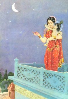Krishan's mother telling bedtime stories to Krishna. I remember this story.