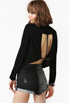 Spike The Line Blouse - Black in What's New at Nasty Gal