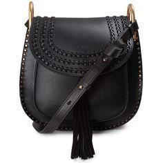 Chloe' Hudson Medium Studded Leather Crossbody Bag ($1,905) ❤ liked on Polyvore featuring bags, handbags, shoulder bags, nero, tassel purse, crossbody shoulder bags, chloe handbags, cross body and studded cross body purse