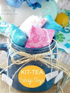 Kit Tea Catnip Toys - Sewing Tutorial. Fill with catnip for fun kitty toys.  sewlicioushomedecor.com