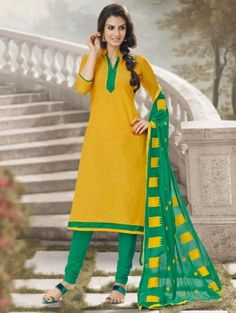 Yellow Cotton Suit with Lace Work