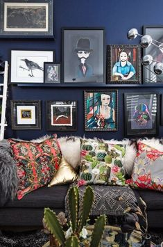 A Maximalist, Boho Luxe London Apartment is part of Living Room Art House Tours - This London home was a boring, whitepainted, newbuild apartment just a year and a half ago Dark Living Rooms, Eclectic Living Room, Living Room Art, Living Area, Bohemian Interior, Bohemian Decor, Dark Bohemian, Bohemian Living, Boho