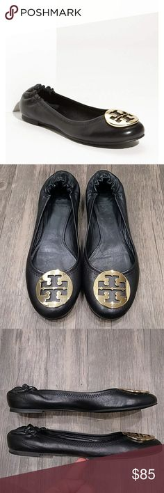 Tory Burch Reva Black Ballet Flats Shoes 9M A signature logo medallion tops the rounded toe of the coveted Reva ballet flat updated with a new, slightly more generous fit.  Mint condition. Pet and smoke free home Tory Burch Shoes Flats & Loafers