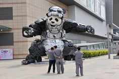 China panda statue iron man, Dissimilar to Phantom Badger, IronPanda is not a name for some compact looking bit of military hardware. It is a real statue in the country of China! Made by the skilled worker Bi Heng, the statue is nine meters high and seven meters wide. The statue is shown in Shenyang, …