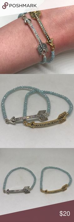 """Premier Designs SHARE THE LOVE Arrow Bracelet Set Premier Designs Jewelry """"SHARE THE LOVE"""" Bracelet (Item #50129). Retail $29.  • These über stylish bracelets aren't just for besties! Share with sisters, mothers, daughters, and more. • Antique silver plated, antique gold plated, AB crystal, AB glass, 7"""" stretch bracelet, 2-piece set. Premier Designs Jewelry Bracelets"""