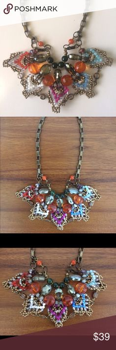 Anthropologie statement necklace Lobster clasp. Brass. Bob style necklace. Perfect condition! Anthropologie Jewelry Necklaces