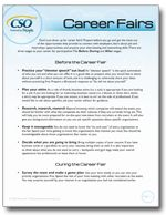 Organized into short bullet points, this guide outlines what to do before, during, and after a career fair.