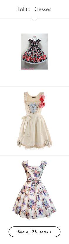 """Lolita Dresses"" by lunabones ❤ liked on Polyvore featuring dresses, lolita, angelic pretty, op, freshly picked, short dresses, vestidos, dirndl, mini dress and pink mini dress"