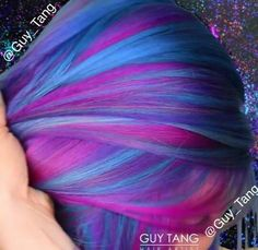 Purple, blue and pink hair - Hair World Pretty Hair Color, Hair Color Purple, Hair Colors, Galaxy Hair Color, Color Blue, Blue And Pink Hair, Pink Blue, Pink Lila, Coloured Hair