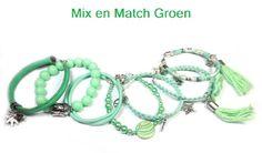 Mix en Match in groen tinten | Beads Creations Kralen en Sieraden Maken Alle artikelen zijn te koop bij www.beadscreations.nl
