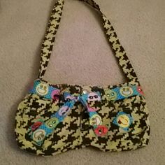 Unique Neon Smiley Jean Purse One of a kind and hand sewn, made out of jeans, different kind of emoji smiles, crazy pattern, velcro closed Bags