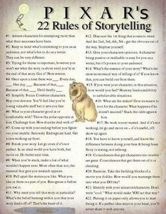 Pixar's 22 storytelling rules - I would not be so arrogant as to call them rules. But interesting suggestions never-the-less.