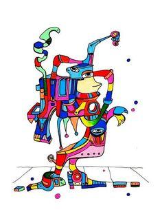 Pylokraten X von Etelka Kovacs-Koller - mad for art auf DaWanda.com Shops, Donald Duck, Smurfs, Illustration, Artworks, Disney Characters, Fictional Characters, Mad, Etsy