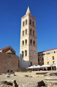 St. Anastasia's Cathedral Bell Tower in the Forum in Zadar, Croatia