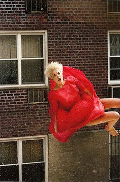 Agyness Deyn styled by Katie Grand for POP magazine 2008, inspired by children falling from a fire escape in the 1950's.