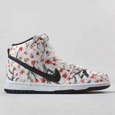 timeless design a55d7 aa83d Nike SB Dunk High Pro Shoes Cherry Blossom Pack - Sail Black Limited  Edition Trainers