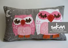 two pink owl cushion