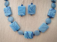 Light Blue Rectangle Glass Necklace Earrings Jade by jazzybeads